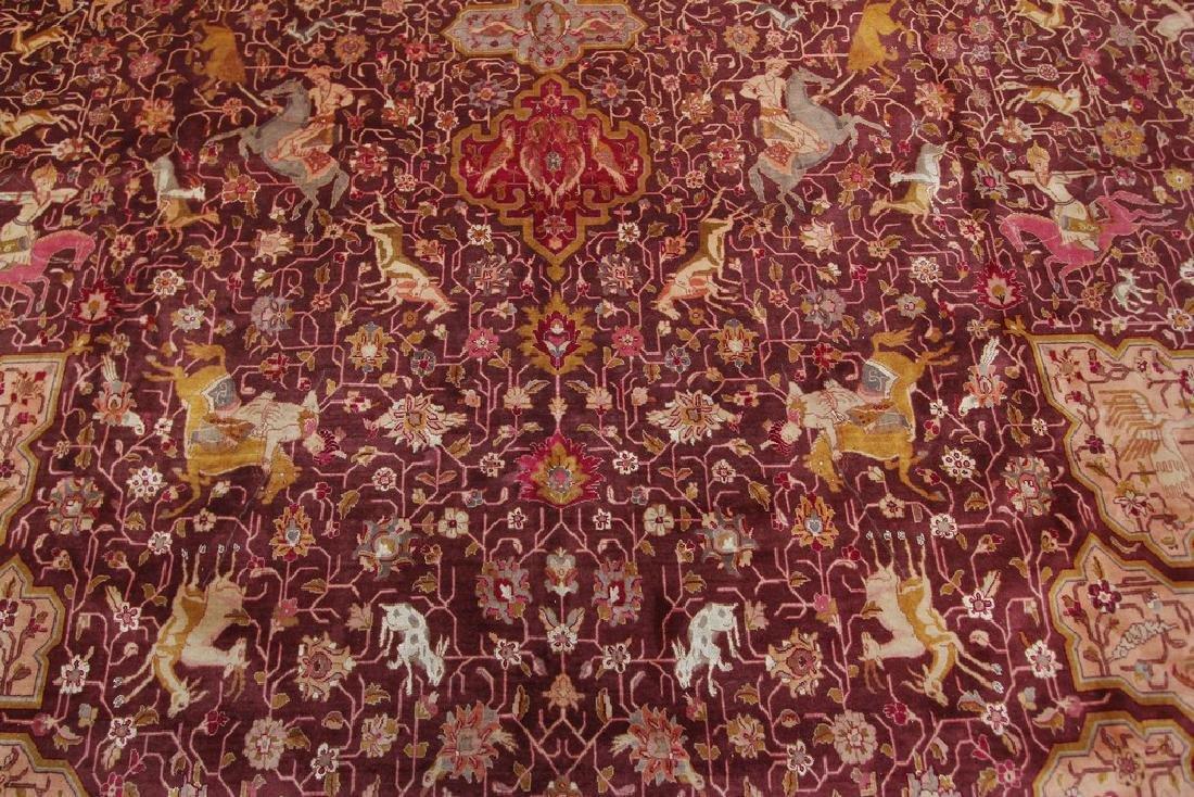 Exceptional Vintage Tabriz Rug Persian Hunting Fine - 5
