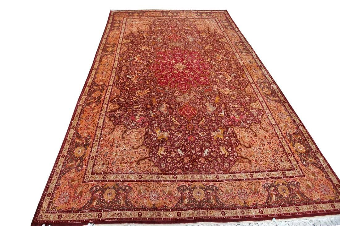Exceptional Vintage Tabriz Rug Persian Hunting Fine - 7