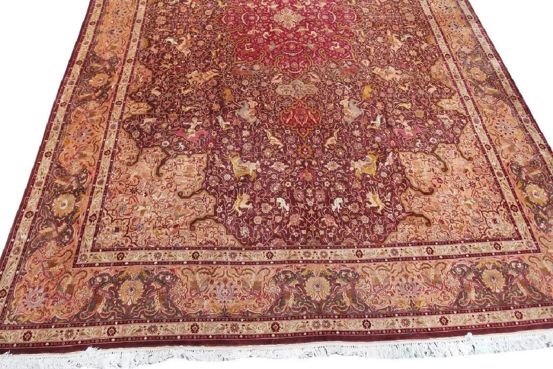 Exceptional Vintage Tabriz Rug Persian Hunting Fine - 8