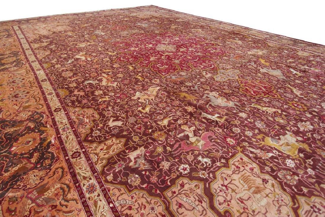 Exceptional Vintage Tabriz Rug Persian Hunting Fine - 9