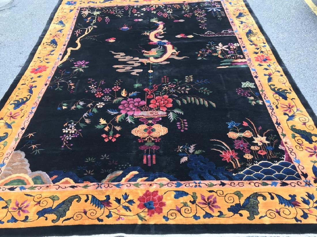 Circa 1920 Mint ART DICO Chinese DRAGON Rug hand woven