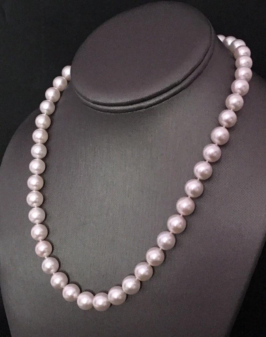 Certified $29,450 Mikimoto Akoya Pearl 9.5 mm 18Kt - 9