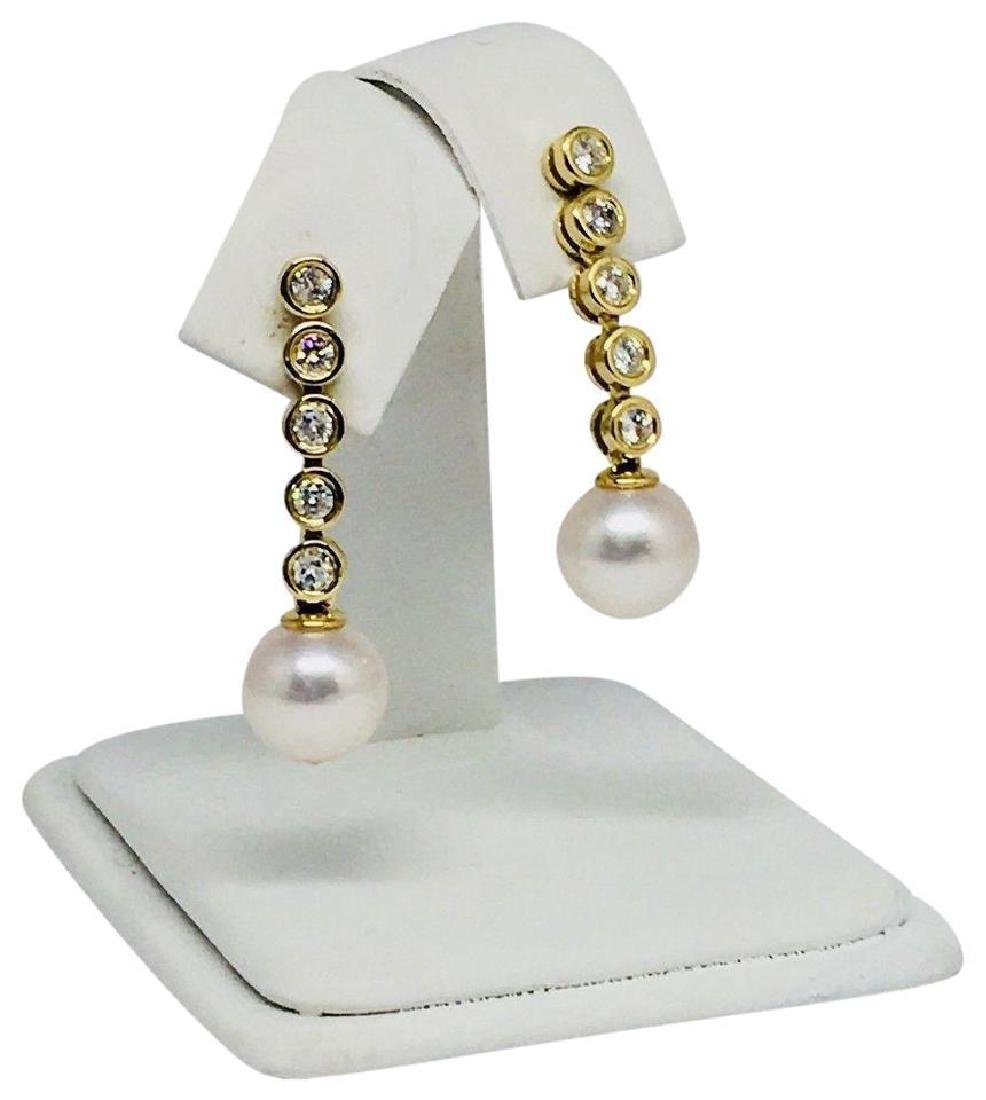 Certified $2,950 Akoya 8.55-8.5mm Pearl & Diamond Drop