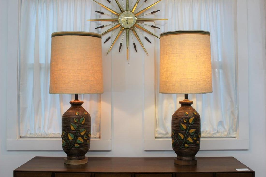 Mid Century Modern pair of ceramic lamps | - 2