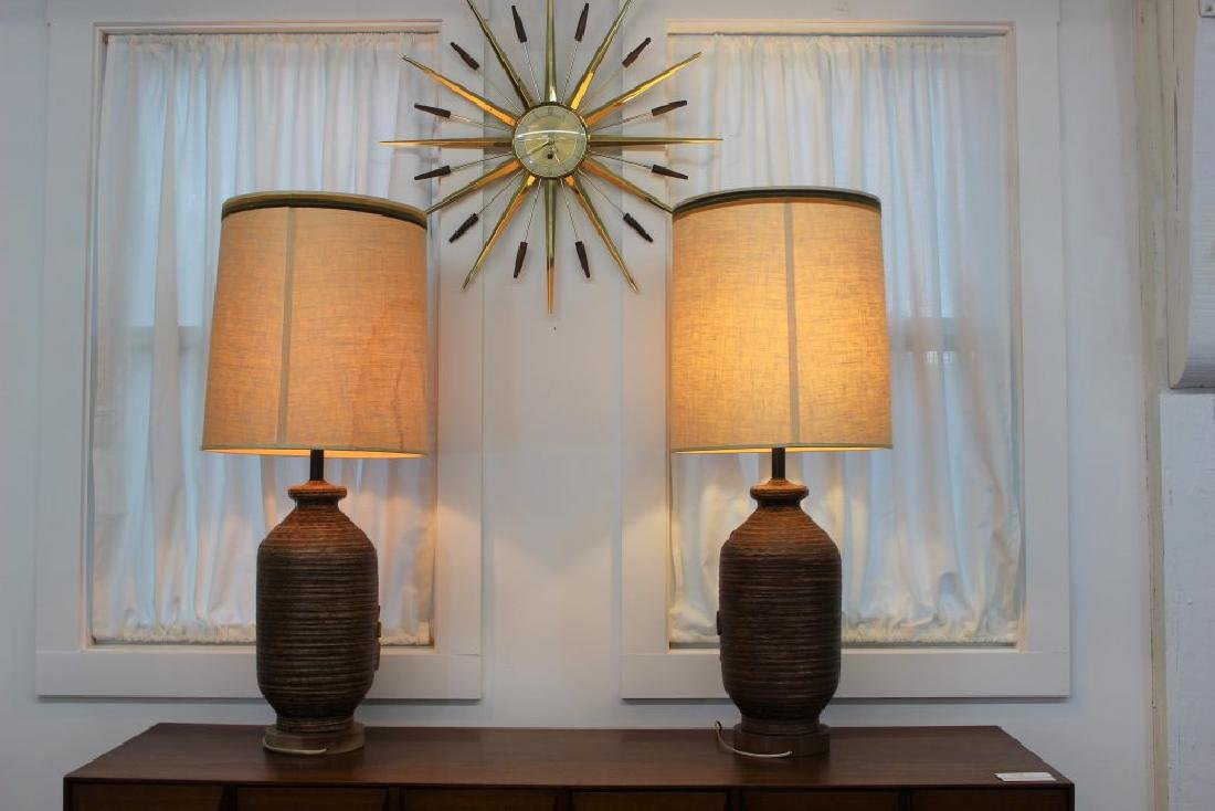 Mid Century Modern pair of ceramic lamps | - 4