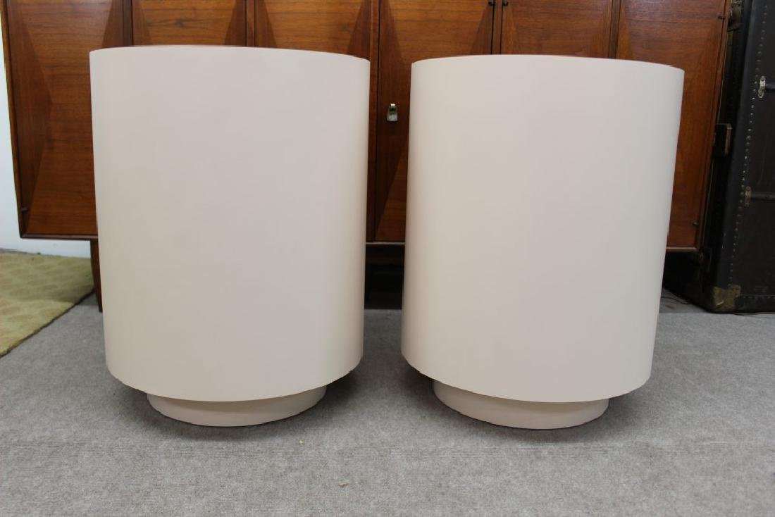 Round pink laminate end tables set of 2 | - 2