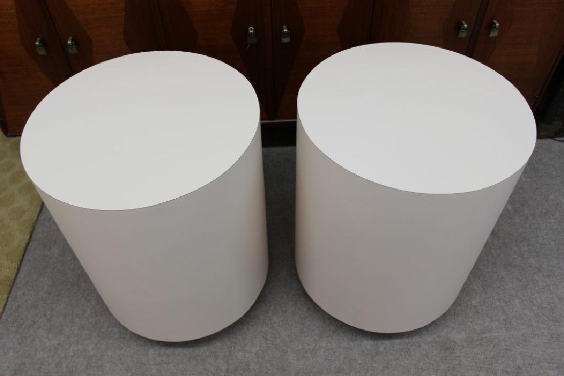 Round pink laminate end tables set of 2 | - 3