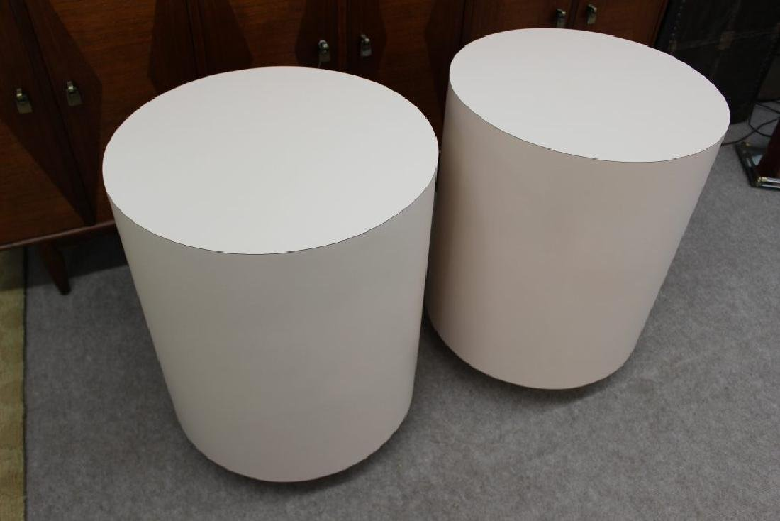 Round pink laminate end tables set of 2 | - 5