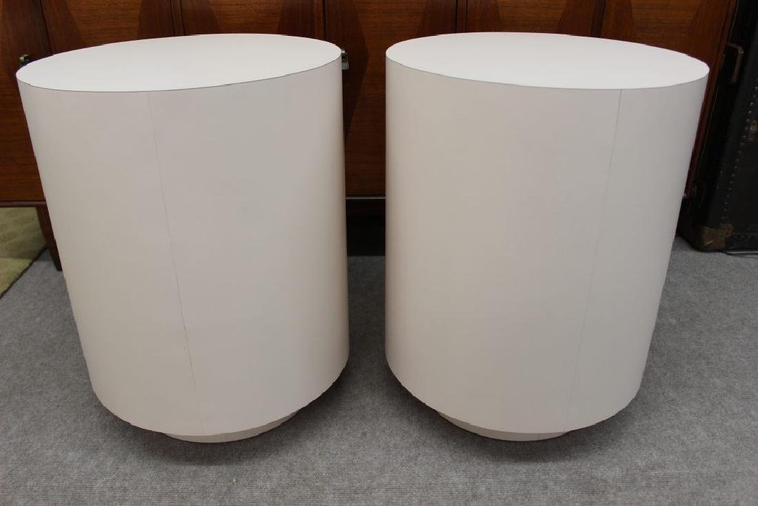 Round pink laminate end tables set of 2 | - 6