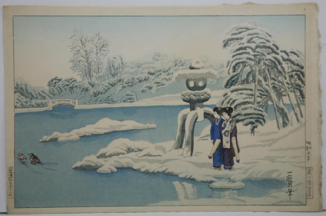 Oda Kazuma Woodblock Geishas by Lantern