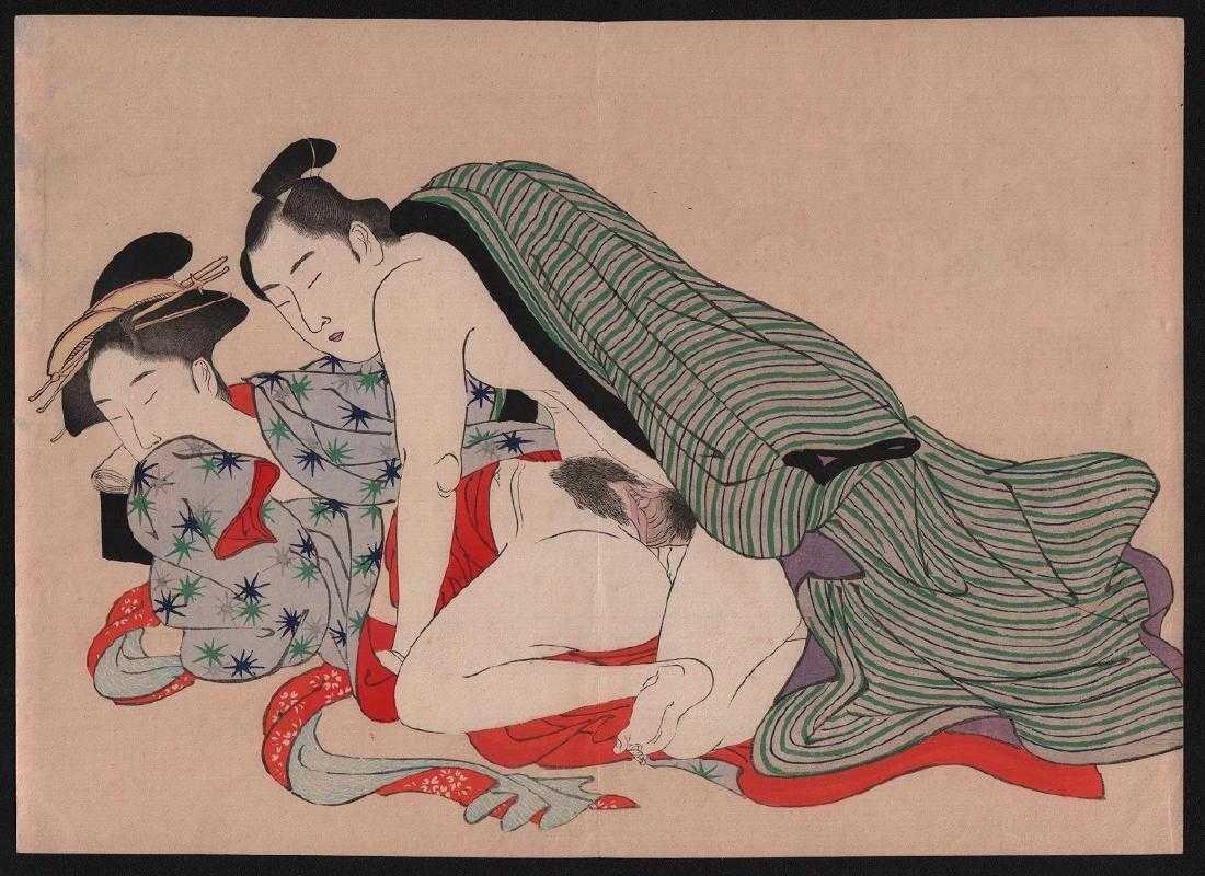 After Utamaro Woodblock Shunga (erotic). - 2