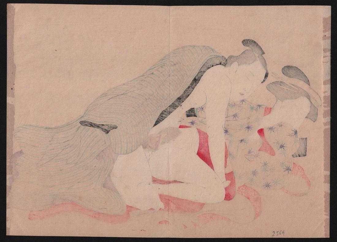 After Utamaro Woodblock Shunga (erotic). - 3