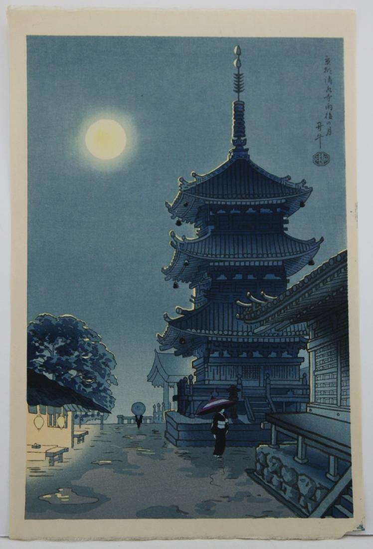Benji Asada Woodblock Moon Over Kiyomizu Temple