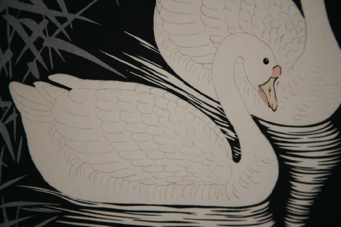 Ohara Koson Woodblock Swans and Reeds - 7