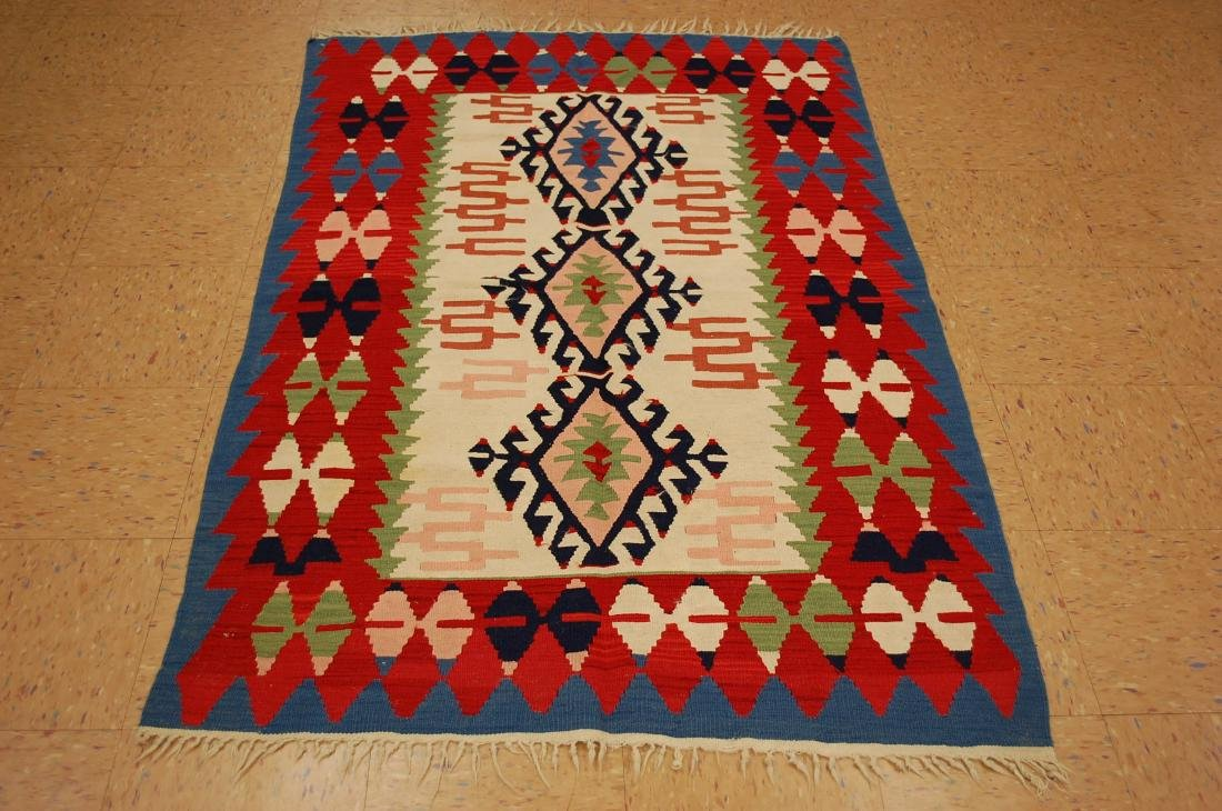 CAUCASIAN KILIM RUG 3.9x6.10 COLORFUL NATURAL WOOL
