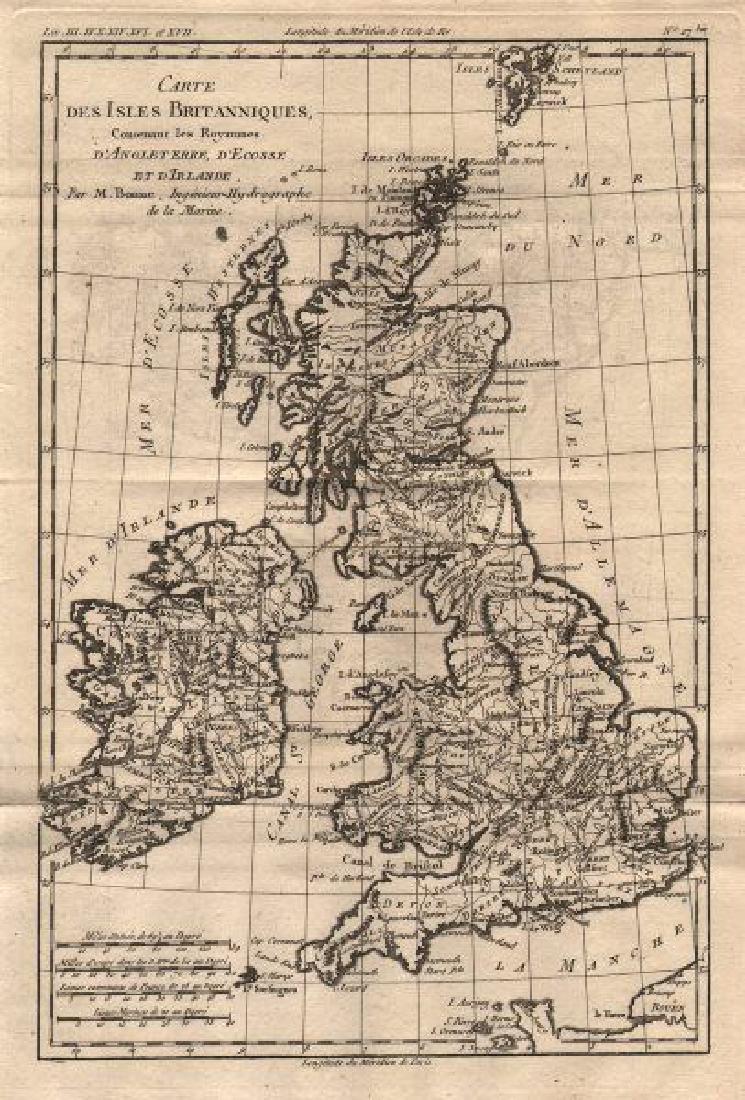 Carte des Isles Britanniques. British Isles. BONNE
