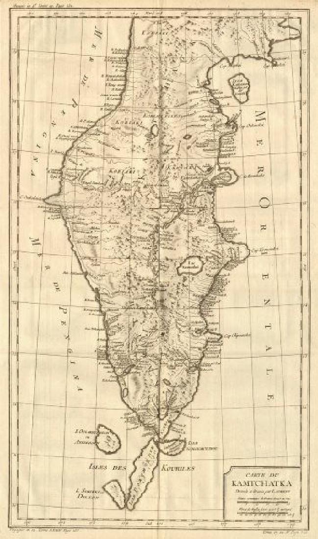 Carte du Kamtchatka'. Kamchatka, Russia. BELLIN, 1758