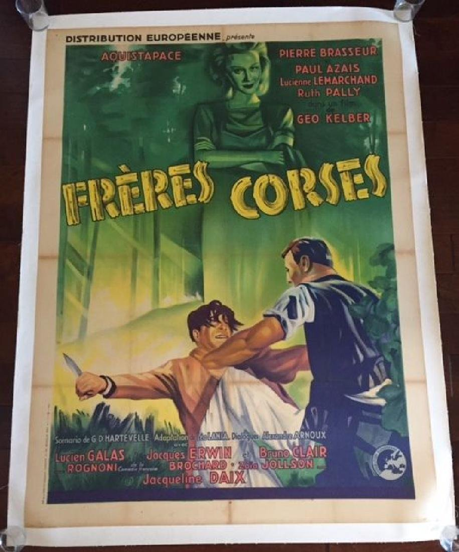 FRERES CORSES - ORIGINAL 1938 FRENCH LB POSTER - GREAT