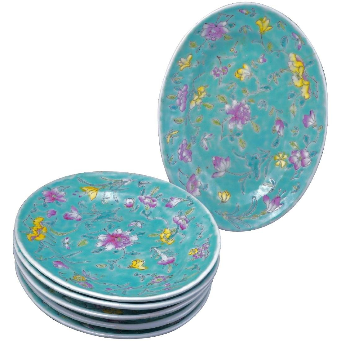 Set of 6 Chinese turquoise over glaze enamel porcelain