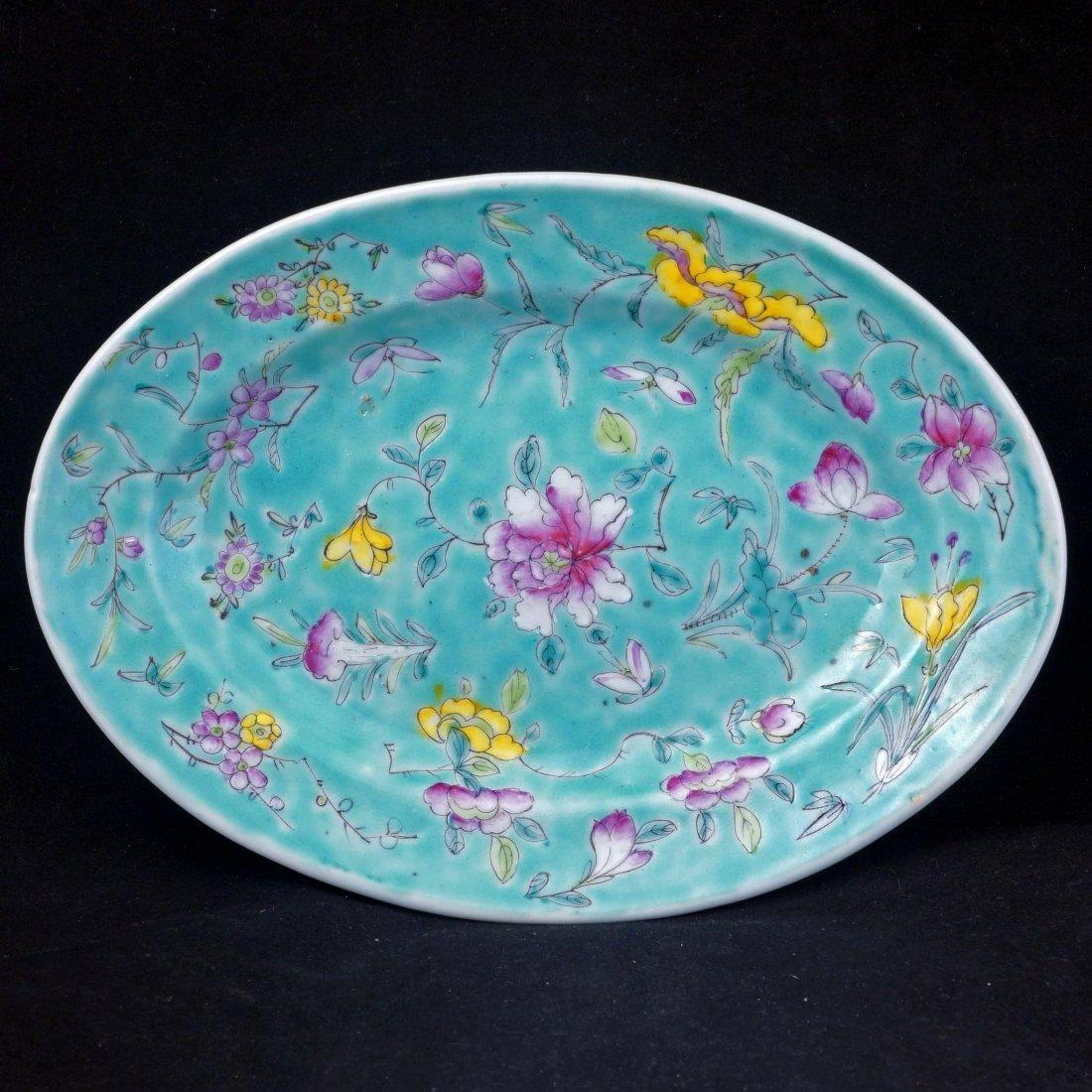Set of 6 Chinese turquoise over glaze enamel porcelain - 3