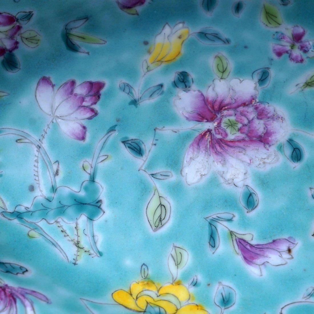 Set of 6 Chinese turquoise over glaze enamel porcelain - 4