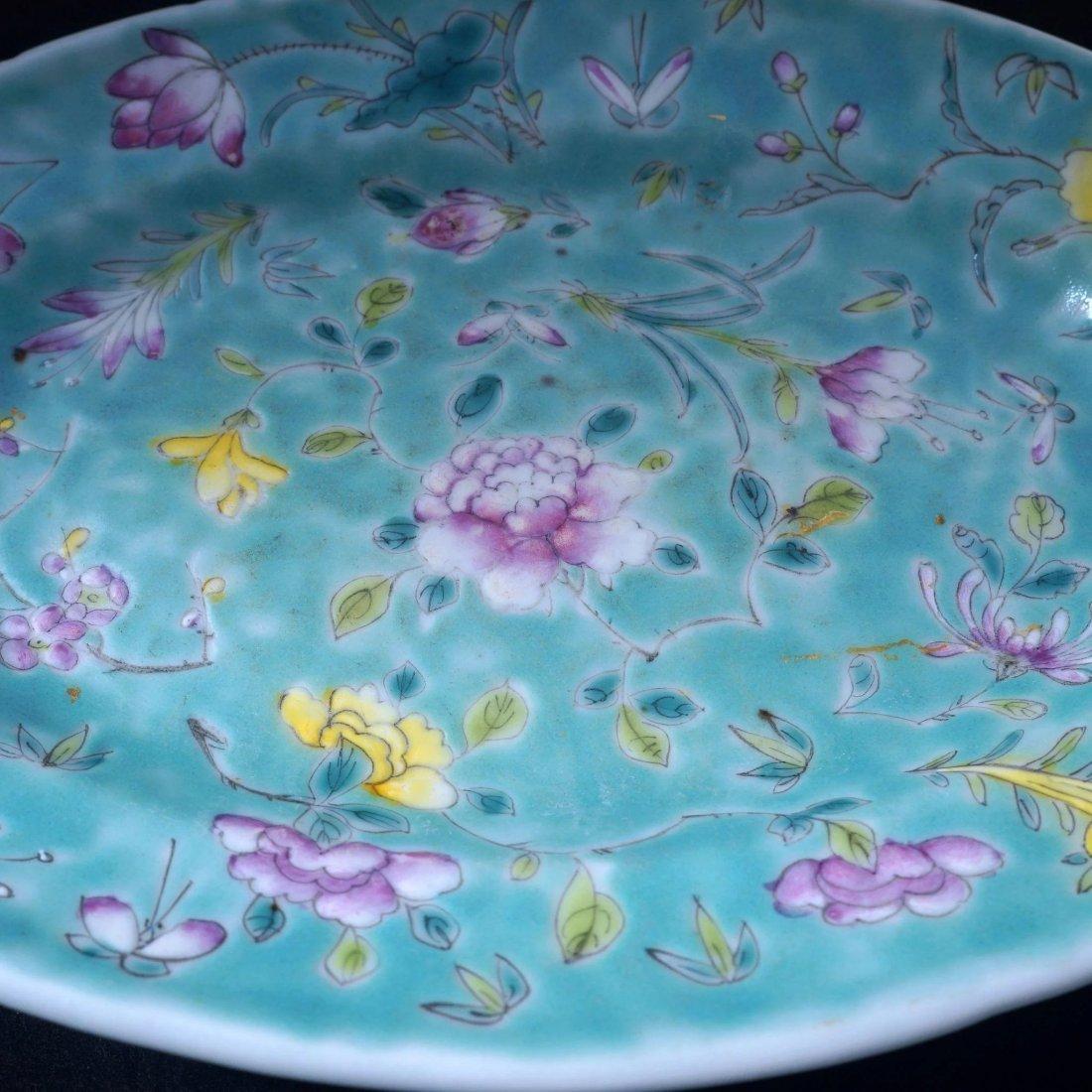 Set of 6 Chinese turquoise over glaze enamel porcelain - 5