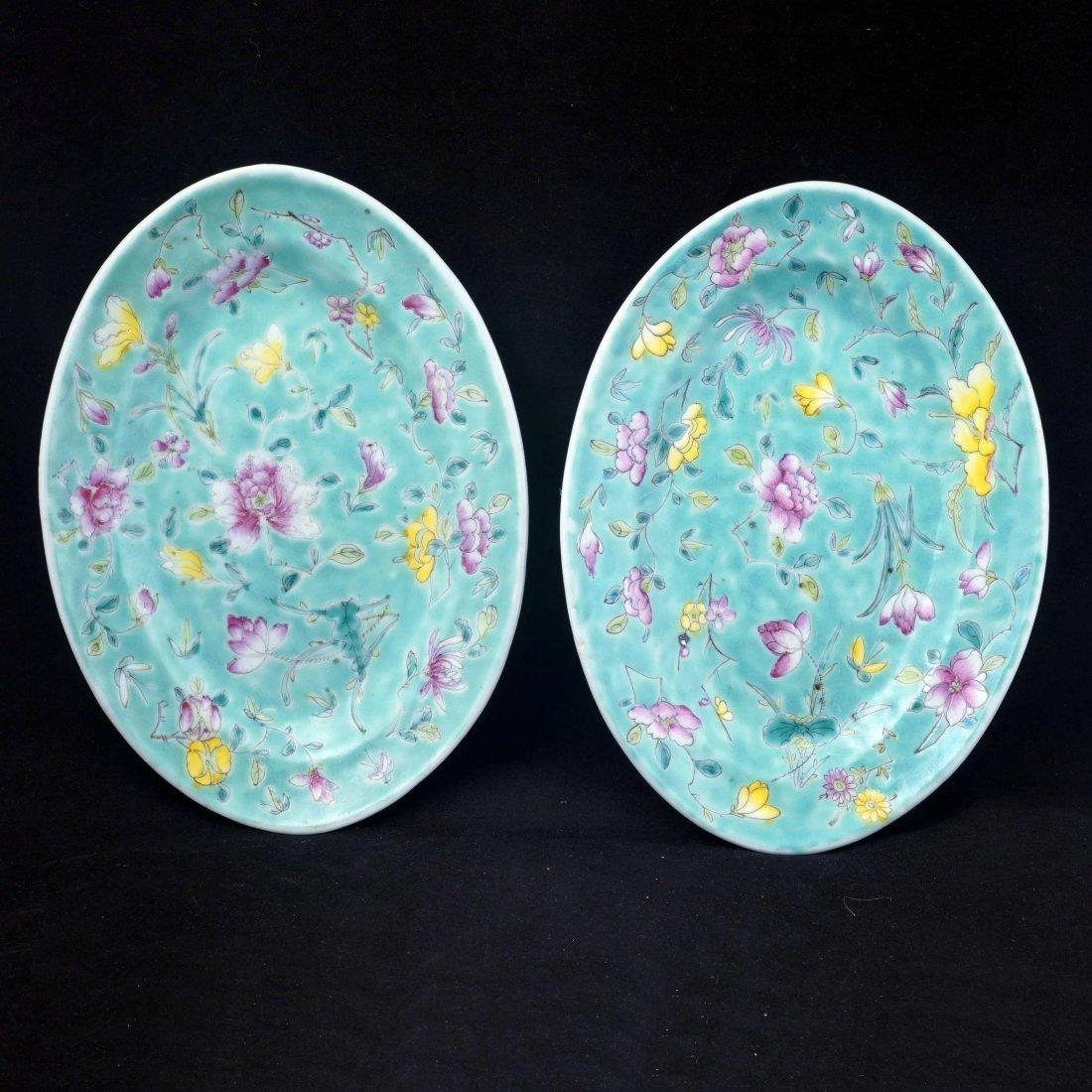 Set of 6 Chinese turquoise over glaze enamel porcelain - 7