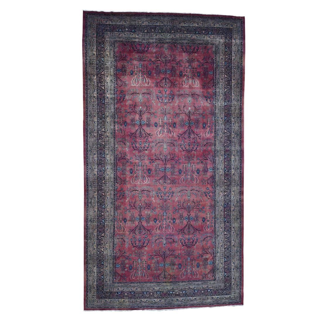 Antique Persian Kashan Gallary Size Even Wear