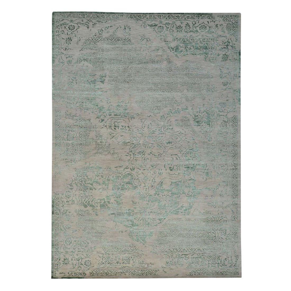 Wool and Silk Broken Design Heriz Oriental Rug Handmade