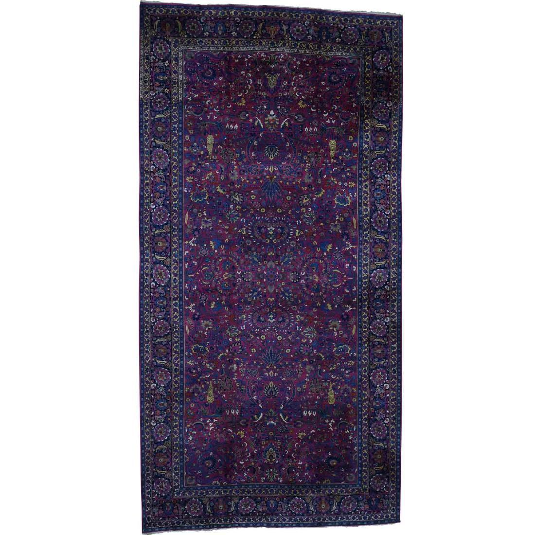 Antique Persian Mashad With Tree Design Hand-Knotted