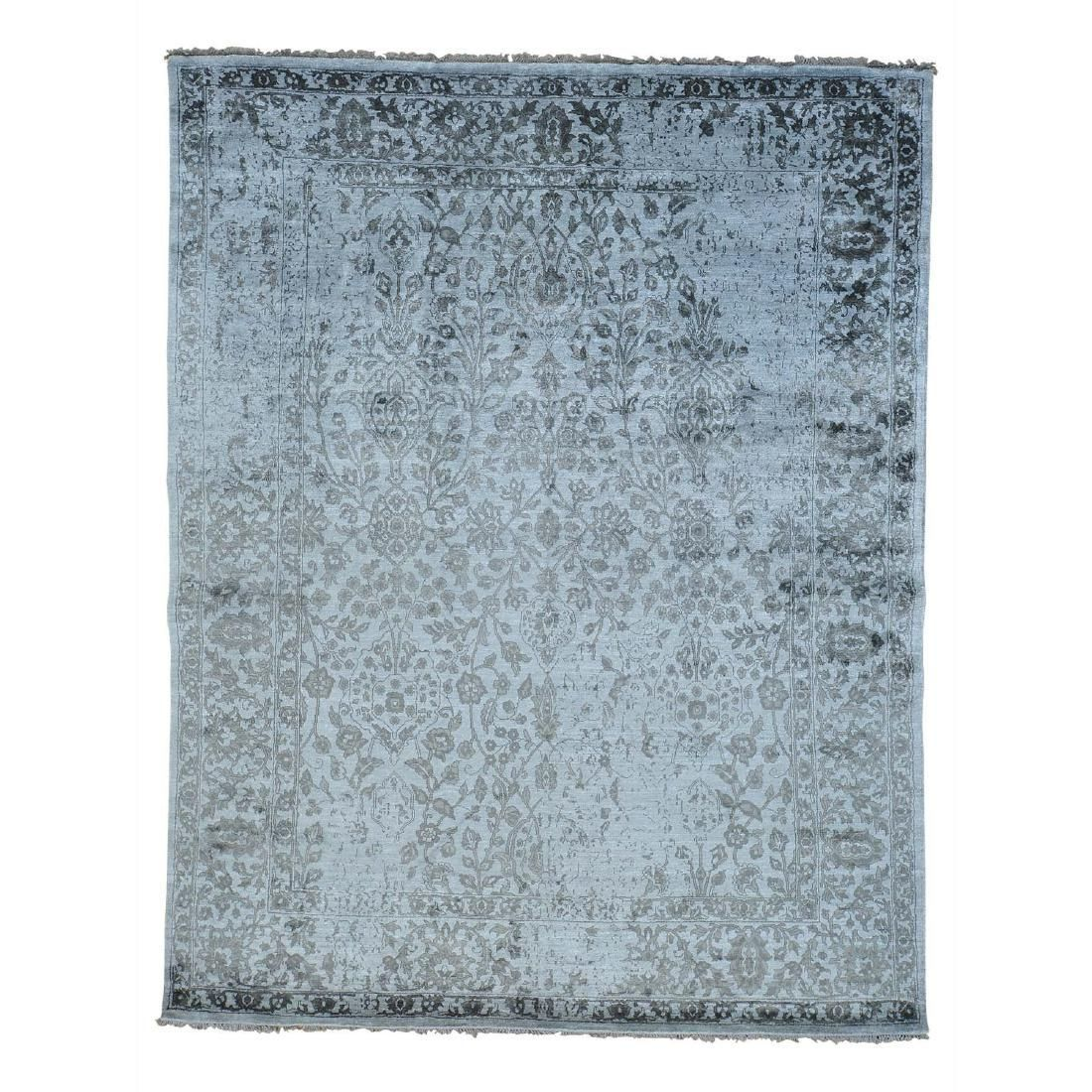 Modern Broken Design Art Silk Oriental Rug Hand Knotted