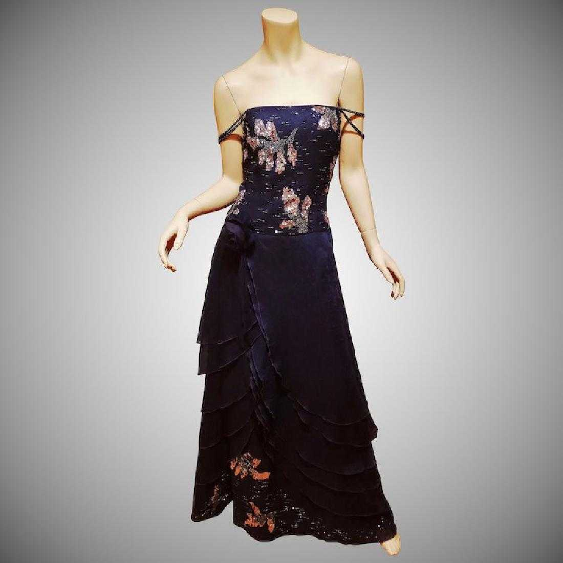 3d0e20c2 Vtg Coli Couture azul embellished layered gown w/fringe