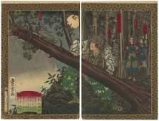 Toyonobu Utagawa (1859-1896) Woodblock Hideyoshi's
