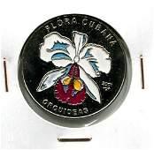 2001 CUBA 1 Peso WHITE ORCHID UNC Colored