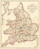 Map of England & Wales Divided Into Counties Shewing