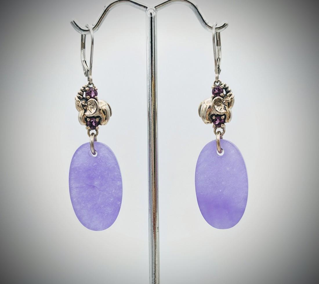925 SS Elephant Designed Violet Jade Earrings w
