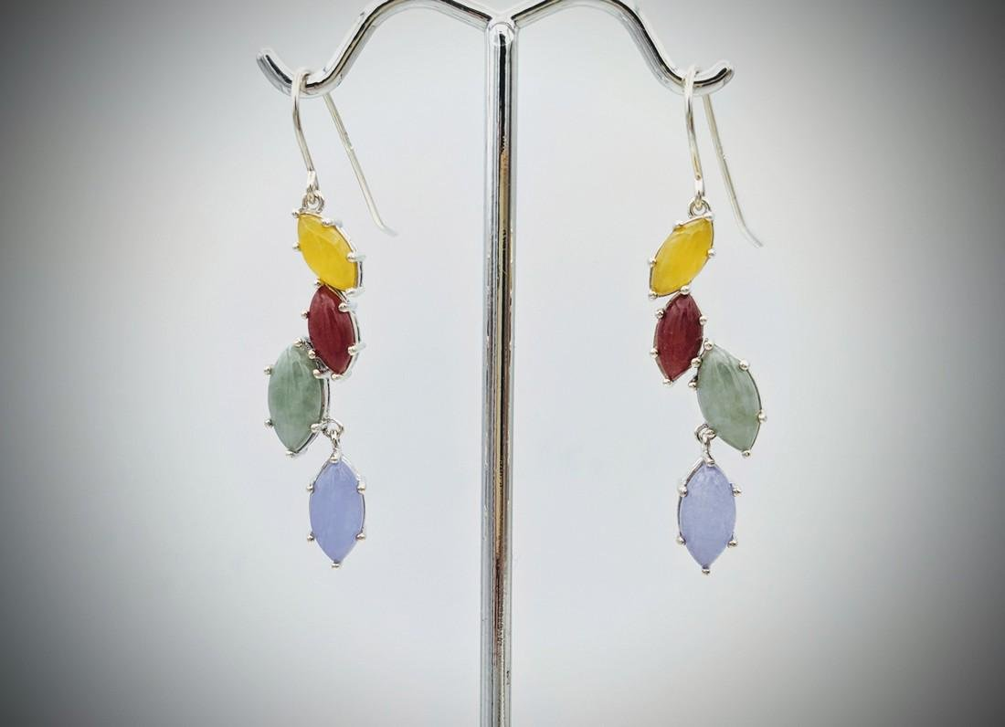 Sterling Silver Multicolored Opaque Earrings w Yellow