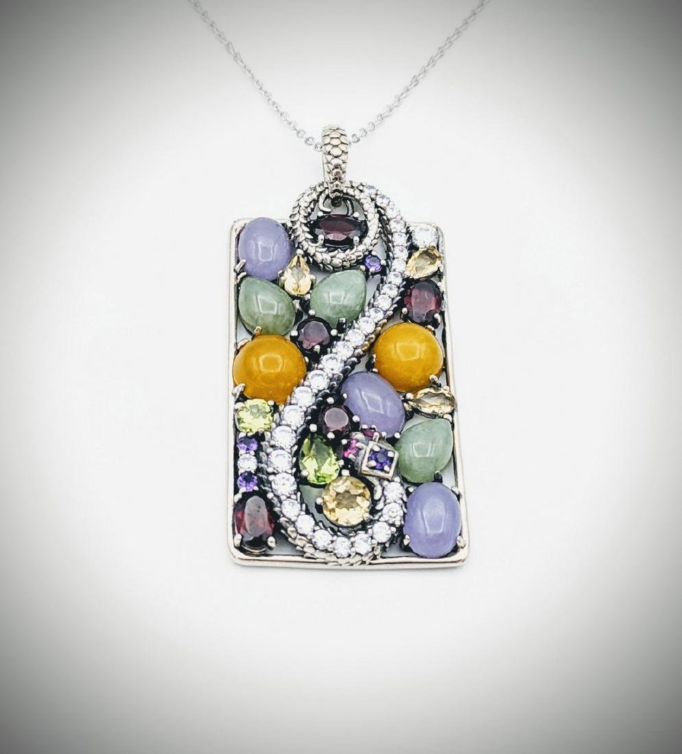 Sterling Silver Necklace w Multicolored Opaque &