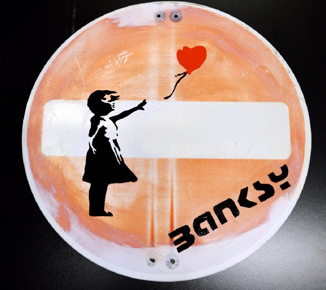 Banksy Metal Road Sign - Girl with Red Heart Balloon
