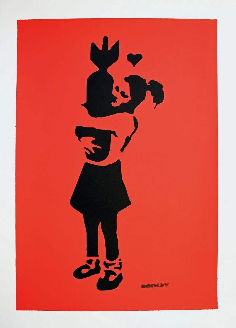 Banksy Bomb Hugger Red background I