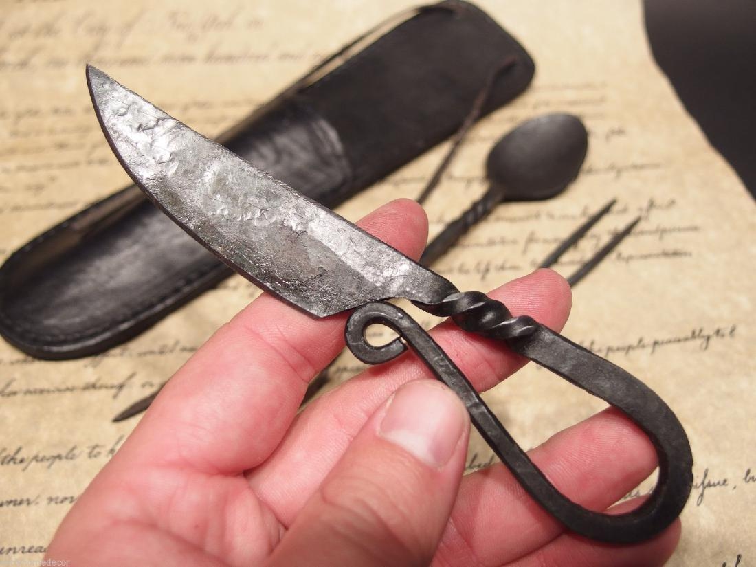 Flint Striker Style Custom Forged Primitive Knife