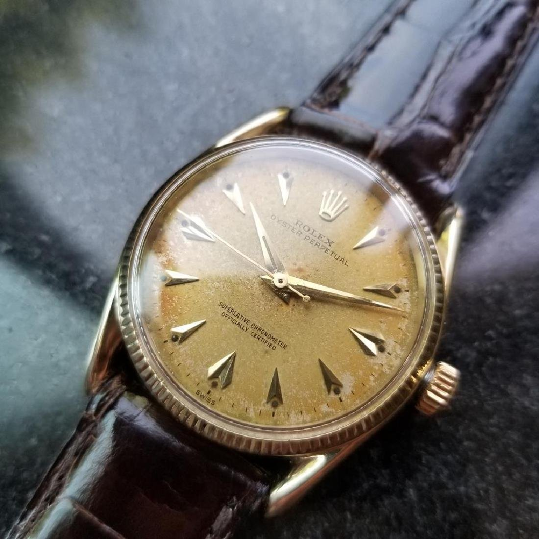 ROLEX Men's 14K Gold Oyster Perpetual 1011 Bombay