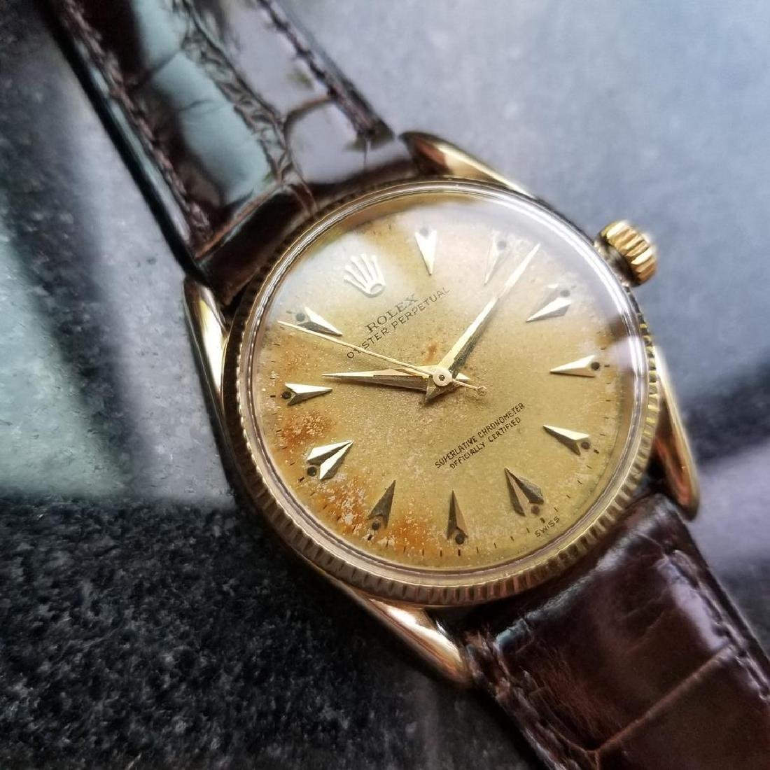 ROLEX Men's 14K Gold Oyster Perpetual 1011 Bombay - 3