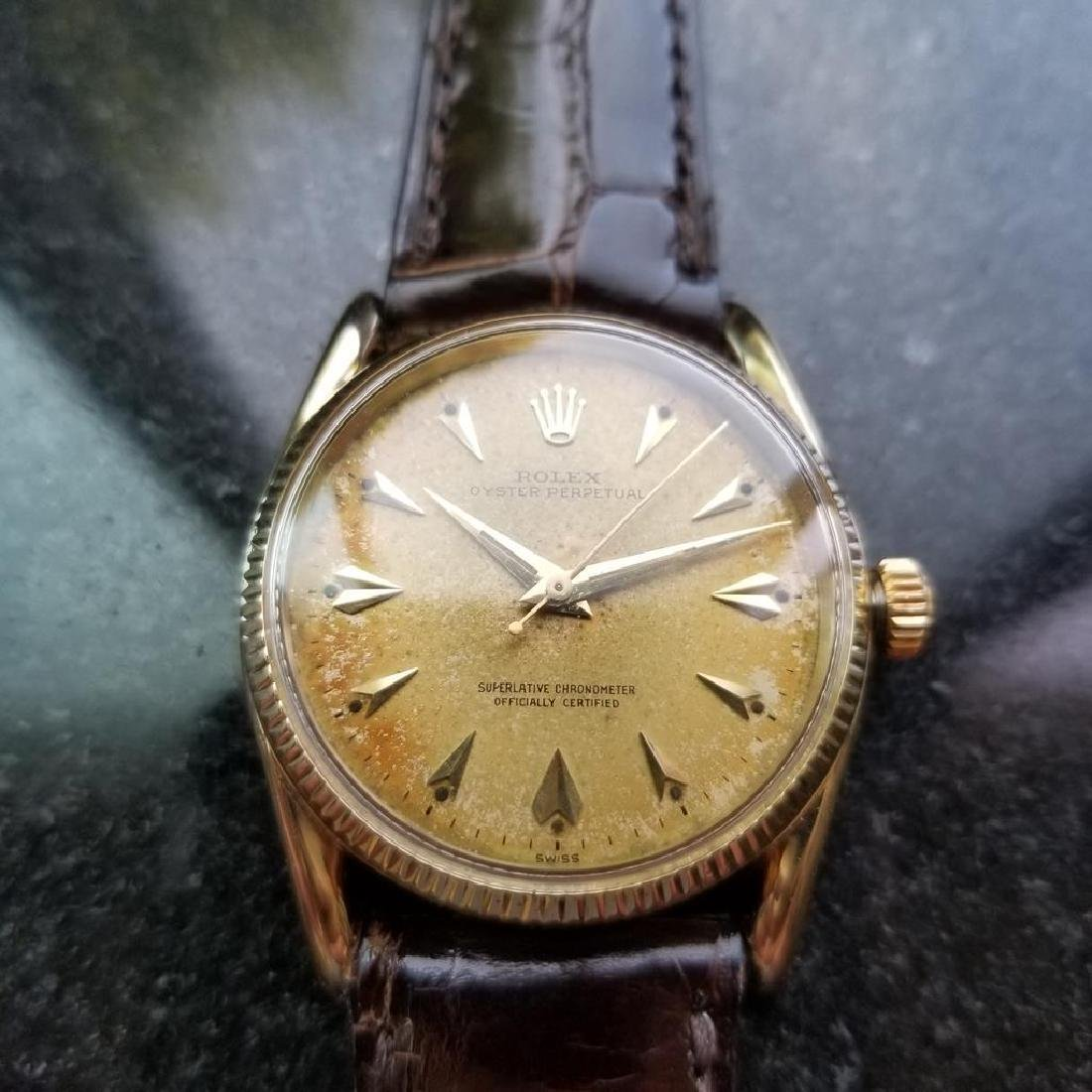 ROLEX Men's 14K Gold Oyster Perpetual 1011 Bombay - 4
