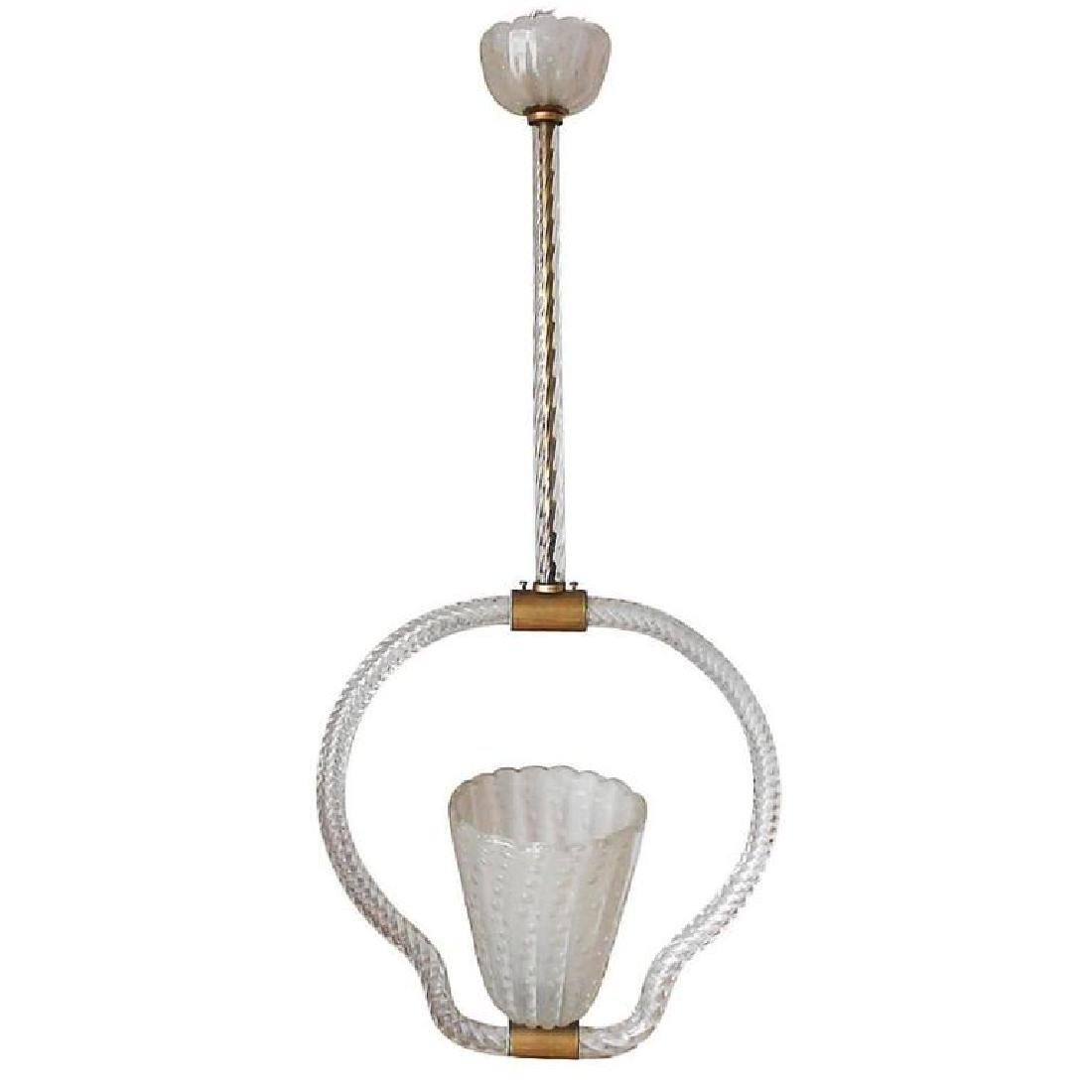 Murano Frosted Glass Pendant by Ercole Barovier