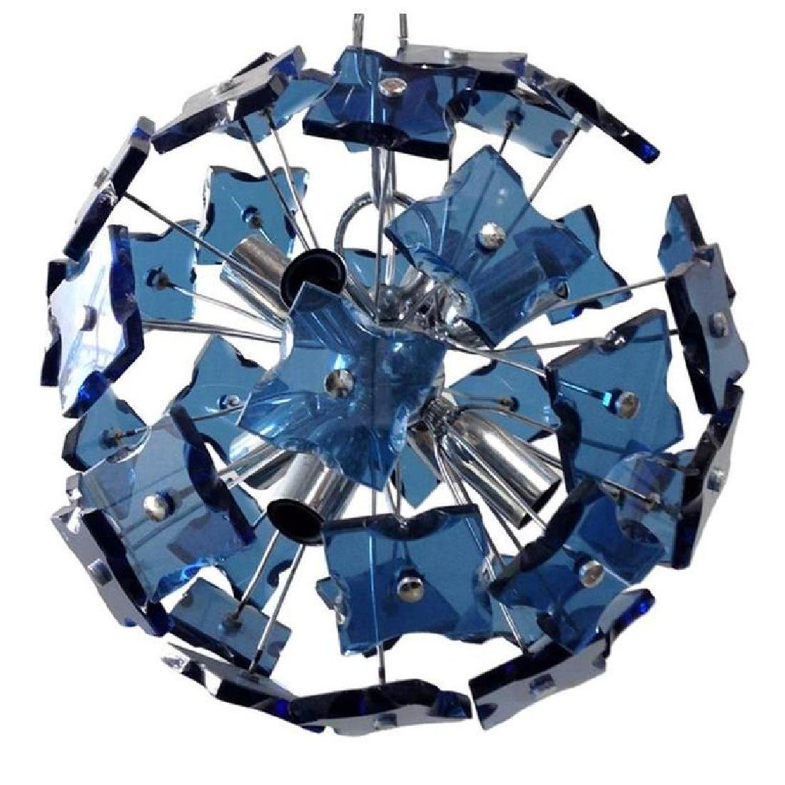 Italian Blue Faceted Glass Sputnik Chandelier