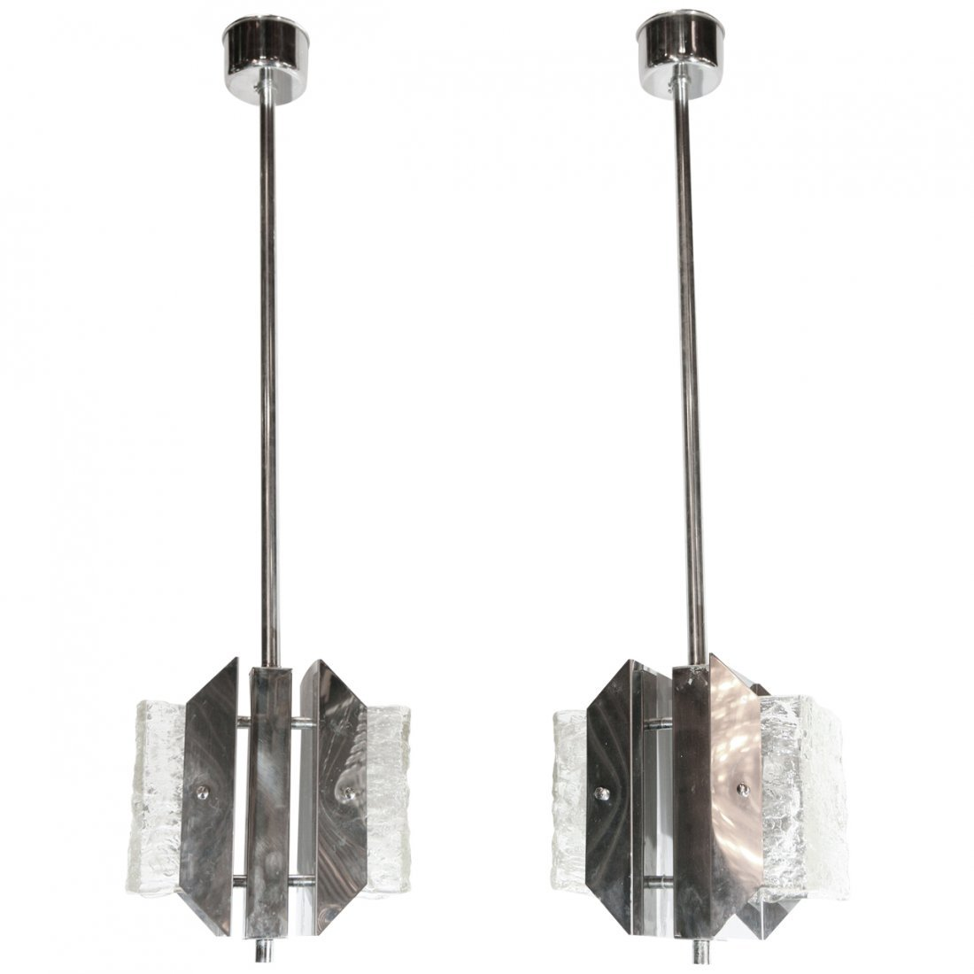 Pair of Murano Textured Glass Pendants by Mazzega