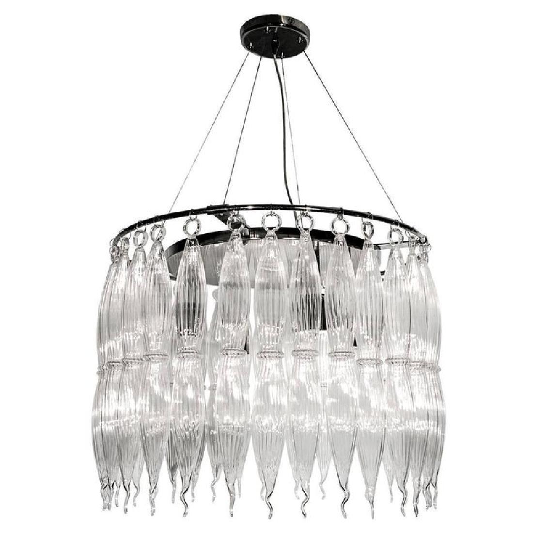 Italian Murano Clear Glass Tassels Chandelier