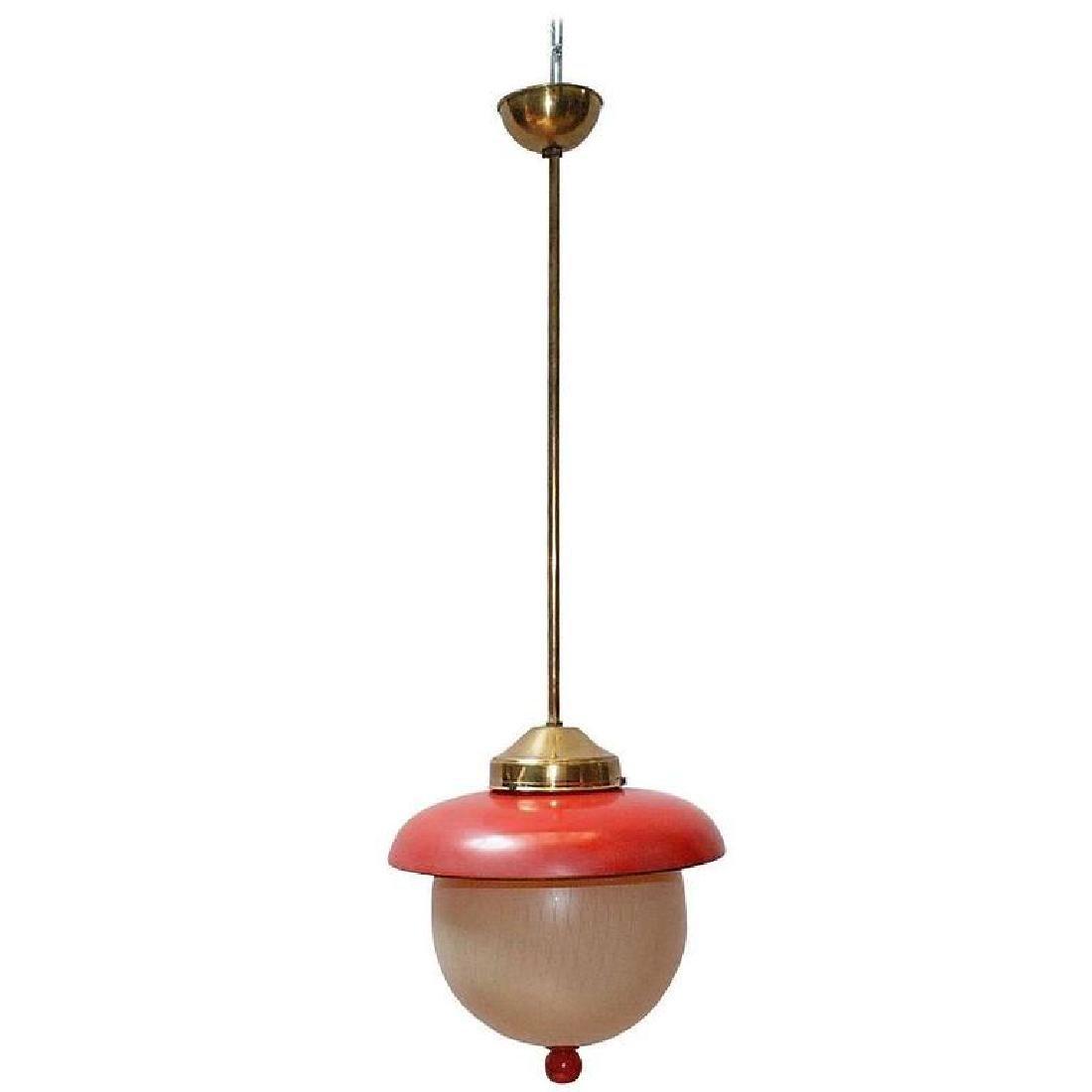 Italian Red and Cream Glass Pendant by Stilnovo