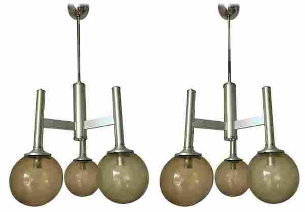 Pair of Smoky Murano Globes Pendants